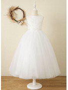 A-Line Ankle-length Flower Girl Dress - Satin/Tulle/Lace Sleeveless Scoop Neck With Bow(s)