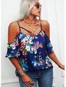 Blomster Print Kolde skulder 1/2 ærmer Casual Plus størrelse Skjorter