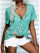 Tierdruckmuster V-Ausschnitt Kurze Ärmel Lässige Kleidung Hemd Blusen