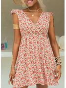 Floral Imprimeu Bir Çizgi Kolsuz Mini gündelik Tatil Patenci Moda Elbiseler