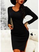 Pevný Přiléhavé Dlouhé rukávy Midi Malé černé Neformální Tužky Módní šaty