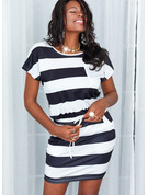 Striped Bodycon Short Sleeves Mini Casual Dresses