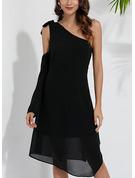Solid Shift Elbiseleri Mâneci Lungi Asimetrik gündelik Tunică Moda Elbiseler