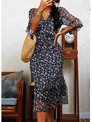 Floral Print Shift 1/2 Sleeves Midi Casual Tunic Dresses