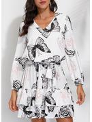 Animal Print Floral Sheath 3/4 Sleeves Mini Casual Dresses