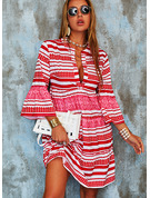 Print Striped Shift Flare Sleeve Long Sleeves Mini Boho Casual Vacation Tunic Dresses