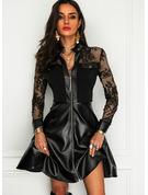 Dentelle Couleur Unie Robe trapèze Manches Longues Mini Petites Robes Noires Élégante Patineur Robes tendance
