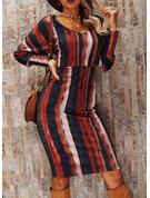 Nadruk Bodycon Długie rękawy Midi Elegancki Ołówkowa Modne Suknie