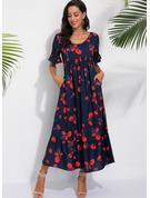 印刷 シフトドレス 半袖 マキシ カジュアル 休暇 ファッションドレス