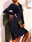 Einfarbig Figurbetont Lange Ärmel Midi Lässige Kleidung Bleistift Modekleider