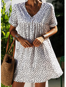 PolkaDot Shift Short Sleeves Mini Casual Vacation Dresses