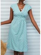 印刷 シースドレス 半袖 ミディ カジュアル 休暇 ファッションドレス