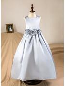 Çan/Prenses Uzun Etekli Çiçek Kız Elbise - Saten Kolsuz Kare Yaka Ile Çiçek(ler) (Petticoat NOT dahil)