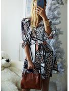 Leopard Kjole med A-linje Lange ærmer Mini Casual Skjorte skater Mode kjoler