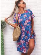 Květiny Tisk Šaty Shift Krátké rukávy Midi Neformální tričko Módní šaty