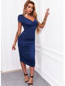 固体 シースドレス 半袖 ミディ エレガント ペンシル ファッションドレス