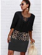 Leopard Color Block Print Shift 1/2 Sleeves Midi Casual Tunic Dresses