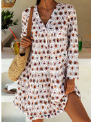 Print Shift 1/2 Sleeves Midi Casual Tunic Dresses