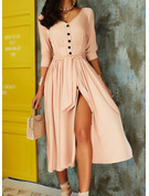 Solid A-line 3/4 Sleeves Puff Sleeves Midi Casual Vacation Skater Dresses
