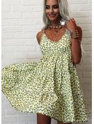Kwiatowy Nadruk Bez pleców Sukienka Trapezowa Bez Rękawów Mini Nieformalny Łyżwiaż Rodzaj Modne Suknie