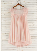 A-Line Asymmetrical Flower Girl Dress - Chiffon/Lace Sleeveless Square Neckline With Beading