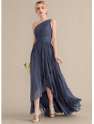 A-Line One-Shoulder Asymmetrical Chiffon Bridesmaid Dress With Cascading Ruffles