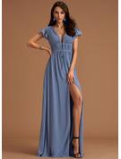 A-linjeklänning V-ringning Korta ärmar Maxi Ryggdetaljer Romantiskt Sexig Modeklänningar