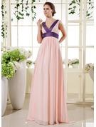Empire-Linie V-Ausschnitt Bodenlang Chiffon Brautjungfernkleid Für Schwangere mit Schleifenbänder/Stoffgürtel