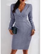 Pläd Åtsittande Långa ärmar Midi Elegant Penna Modeklänningar