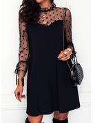 Gepunktet Einfarbig Etuikleider Lange Ärmel Mini Kleine Schwarze Elegant Tunika Modekleider