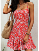 Floral Print A-line Sleeveless Mini Casual Sexy Skater Type Dresses