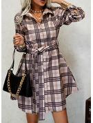 Pläd Shiftklänningar Långa ärmar Mini Fritids Skjortklänningar Modeklänningar