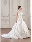 Ball-Gown V-neck Court Train Satin Lace Wedding Dress With Ruffle