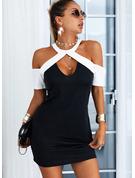Blocchi di colore Aderente Maniche corte Mini Elegante Vestiti di moda