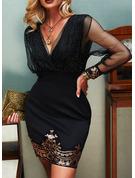 スパンコール 固体 ボディコンドレス 長袖 ミニ パーティー エレガント ファッションドレス