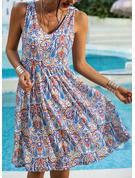 Print A-linjeklänning Ärmlös Midi Boho Fritids Semester skater Modeklänningar