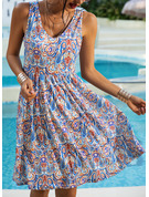 Print A-line Sleeveless Midi Boho Casual Vacation Skater Dresses