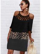 Leopard Color Block Print Skiftekjoler 1/2 ærmer Midi Casual Tunika Mode kjoler
