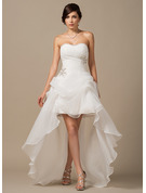 A-Line Sweetheart Asymmetrical Organza Wedding Dress With Ruffle Beading Sequins