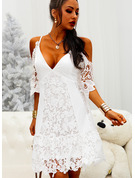 Lace Solid Shift 1/2 Sleeves Cold Shoulder Sleeve Mini Sexy Vacation Tunic Dresses
