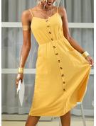 Sólido Vestido línea A Sin mangas Midi Casual Vacaciones Patinador Tipo Vestidos de moda