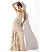 Coupe Évasée Seule-épaule Balayage/Pinceau train Mousseline Robe de mère de la mariée avec Brodé Robe à volants