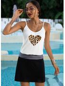 Leopard Tisk Pouzdrové Bezrukávů Mini Neformální Typ Módní šaty