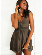 Jednolity Sukienka Trapezowa Bez Rękawów Mini Nieformalny Łyżwiaż Rodzaj Modne Suknie