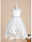 A-Line Square Neckline Tea-length With Beading Satin/Tulle Flower Girl Dress