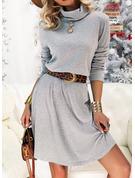 Einfarbig A-Linien-Kleid Lange Ärmel Mini Lässige Kleidung Skater Modekleider