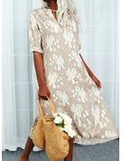 Blumen Druck Etuikleider 3/4 Ärmel Maxi Lässige Kleidung Urlaub Modekleider