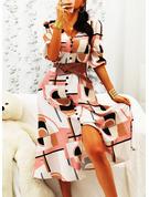 Nadruk Sukienka Trapezowa Rękawy 1/2 Maxi Nieformalny Łyżwiaż Modne Suknie
