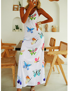 Print A-line Sleeveless Maxi Casual Type Dresses