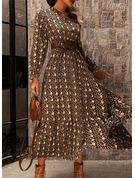 Print A-linjeklänning Långa ärmar Midi Fritids skater Modeklänningar